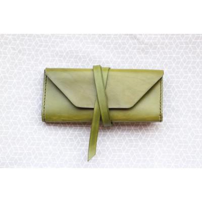 Khaki kožené psaníčko CLUTCH