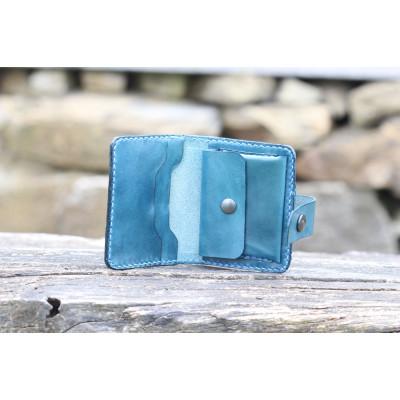 Dámská kožená peněženka - modrá
