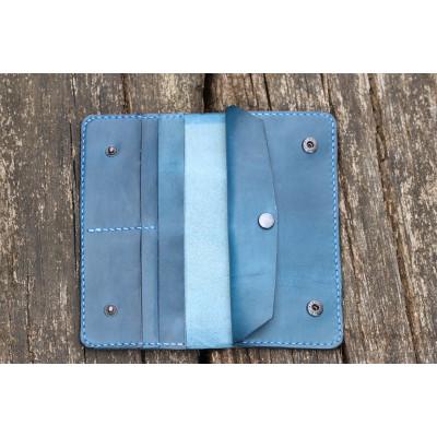 Dámská velká kožená peněženka - modrá