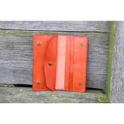 Dámská velká kožená peněženka - oranžová