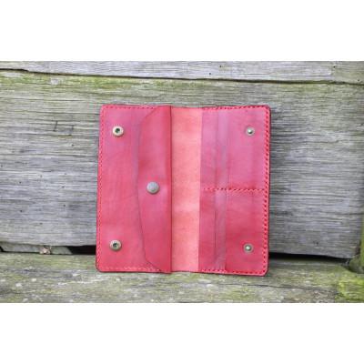 Dámská velká kožená peněženka - tmavě červená