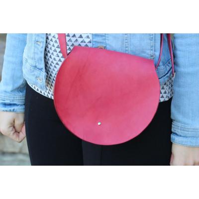 Dámská červená kožená kulatá kabelka