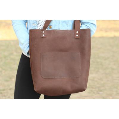Hnědá kožená velká taška TOTE