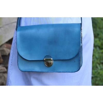 Dámská kožená kabelka - modrá