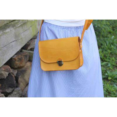 Dámská kožená kabelka - žlutá