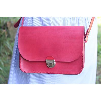 Dámská kožená kabelka - tmavě červená