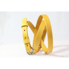 Tenký dámský kožený opasek žlutý