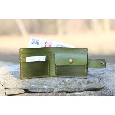 Khaki pánská kožená peněženka
