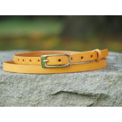 Jemný kožený opasek žlutý