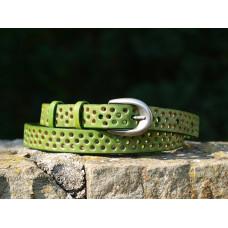 Dírkovaný zelený kožený opasek (silnější kůže 4 mm)