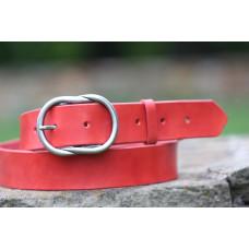 Dámský červený opasek široký s ozdobnou sponou