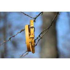 Tenký dámský kožený opasek žlutý s linkami